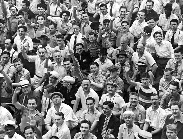 1938 Art Print featuring the photograph Happy Baseball Fans In The Bleachers At Yankee Stadium. by Underwood Archives