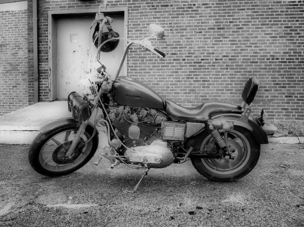 Hdr Art Print featuring the photograph Harley In Black And White by Thomas MacPherson Jr