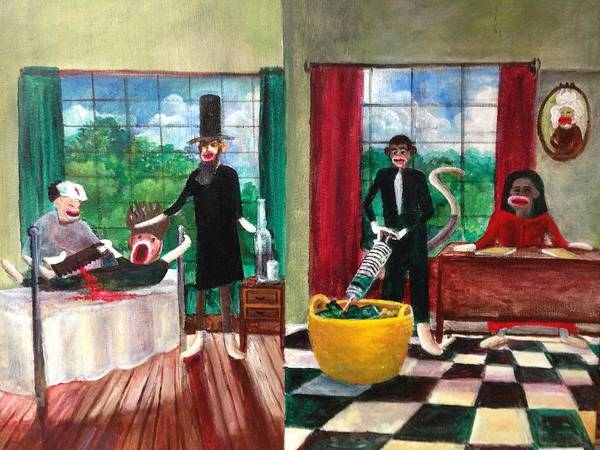 Obama Art Print featuring the painting Healthcare Then And Now by Randol Burns