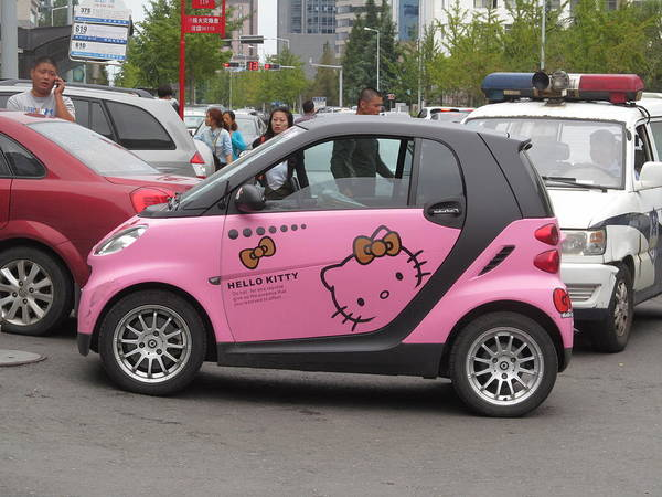 Car Art Print featuring the photograph Hello Kitty Car by Alfred Ng