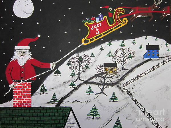 Art Print featuring the painting Help Santa's Stuck by Jeffrey Koss