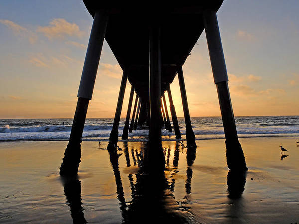 Sunset Art Print featuring the photograph Hermosa Pier At Sunset by Greg Dyro