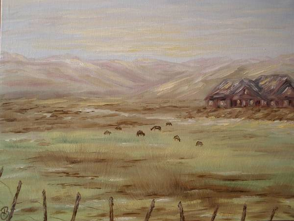 Field Art Print featuring the painting Home On The Range by Carrie Mayotte
