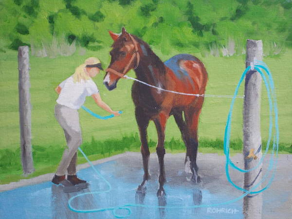 Stables Art Print featuring the painting Horse  Wash by Robert Rohrich