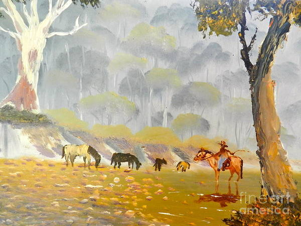 Impressionism Art Print featuring the painting Horses Drinking In The Early Morning Mist by Pamela Meredith