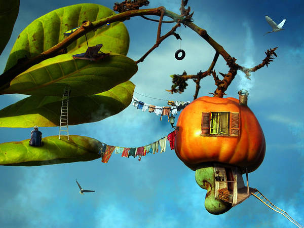 Fantasy Art Print featuring the digital art House On The Sky by REDlightIMAGE