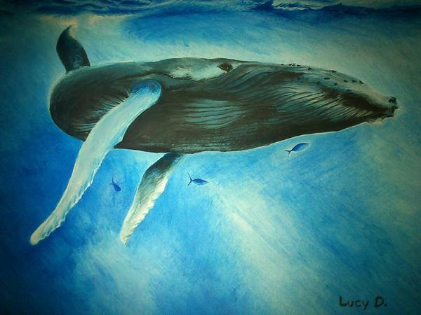 Nature Art Print featuring the painting Humpback Whale by Lucy D