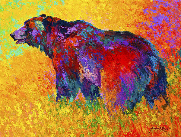 Bear Art Print featuring the painting Into The Wind by Marion Rose