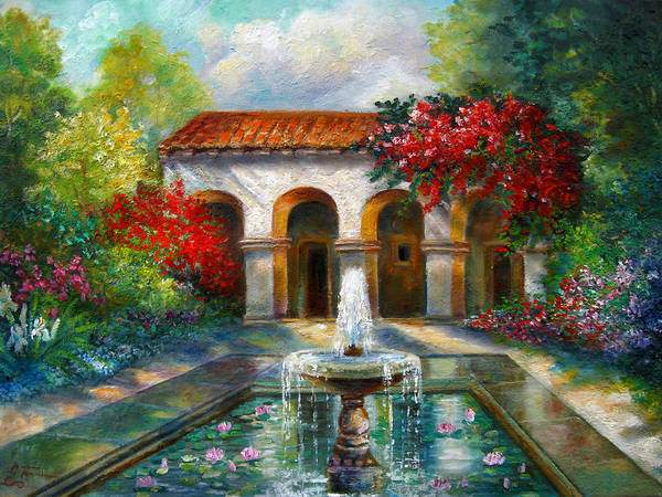 Italian Landscape Art Print featuring the painting Italian Abbey Garden Scene With Fountain by Regina Femrite