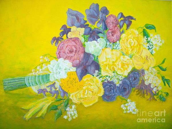 Wedding Bouquet Art Print featuring the painting Jen's Wedding Bouquet by Paul Galante