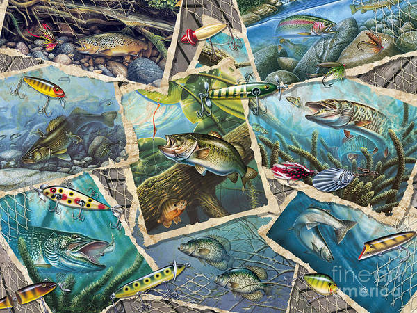 Jon Q Wright Art Print featuring the painting Jq's Fishing Collage by Jon Q Wright