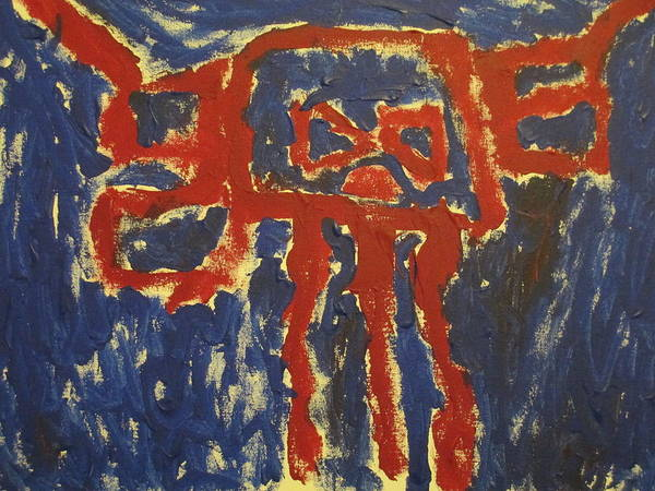 Red And Dark Blue Fantaly Impressionistic Painting. Art Print featuring the painting J's Interpretation by Barbara Yearty