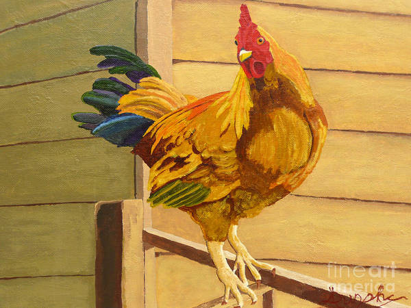 Rooster Art Print featuring the painting King Of The Roost by Anthony Dunphy