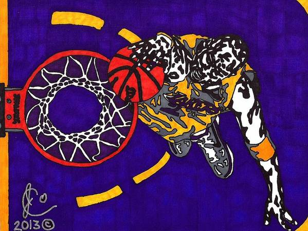 American Basketball Art Print featuring the drawing Kobe Bryant by Jeremiah Colley