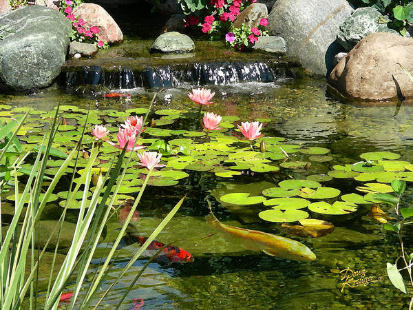 Waterfall Art Print featuring the painting Koi Pond by Doug Kreuger