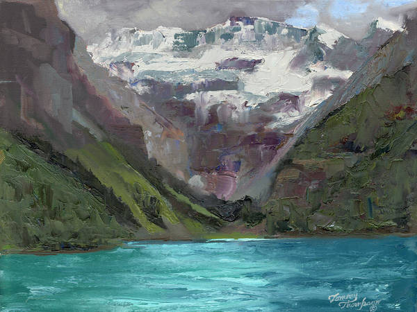 Landscape Art Print featuring the painting Lake Louise Canada by Tommy Thompson