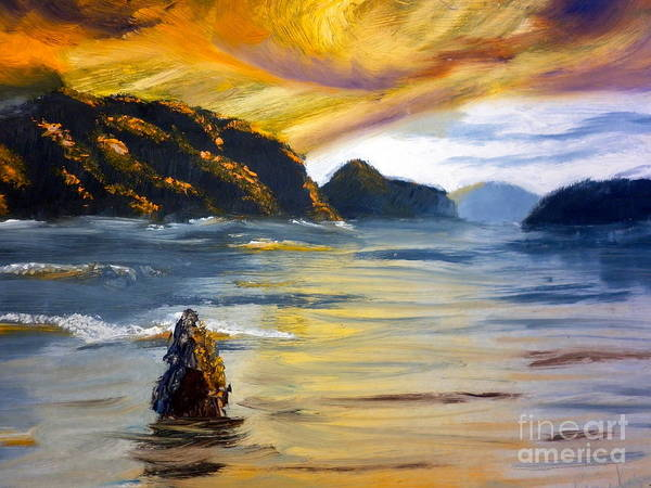 Nature Art Print featuring the painting Lake Wahatipu Queenstown Nz by Pamela Meredith