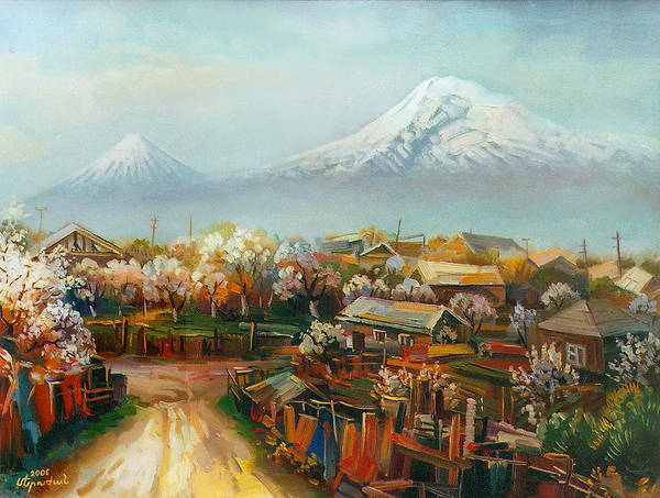 New Aintab Art Print featuring the painting Landscape With Mountain Ararat From The Village Aintap by Meruzhan Khachatryan