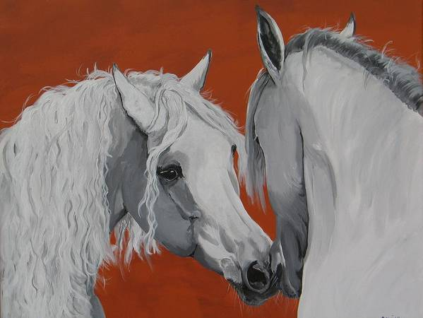 Horse Original Painting Art Print featuring the painting Learn To Know You by Janina Suuronen