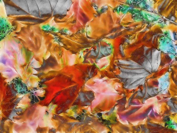Leaves Abstraction I Art Print featuring the digital art Leaves Abstraction I  by Devalyn Marshall