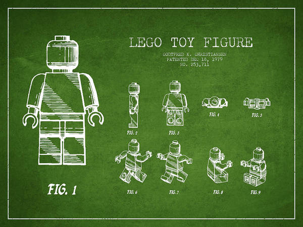 Lego Art Print featuring the digital art Lego Toy Figure Patent Drawing From 1979 - Green by Aged Pixel