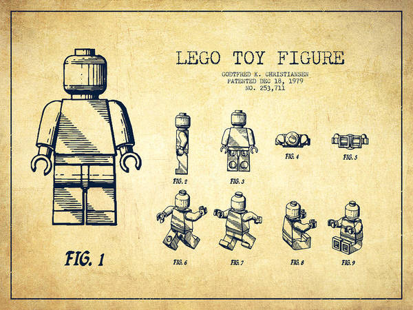 Lego Art Print featuring the drawing Lego Toy Figure Patent Drawing From 1979 - Vintage by Aged Pixel