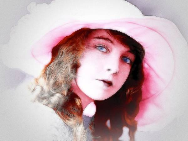 Lillian Gish American Female Woman Actress Portrait Painting Beauty Silent Movie Art Print featuring the painting Lillian Gish by Steve K