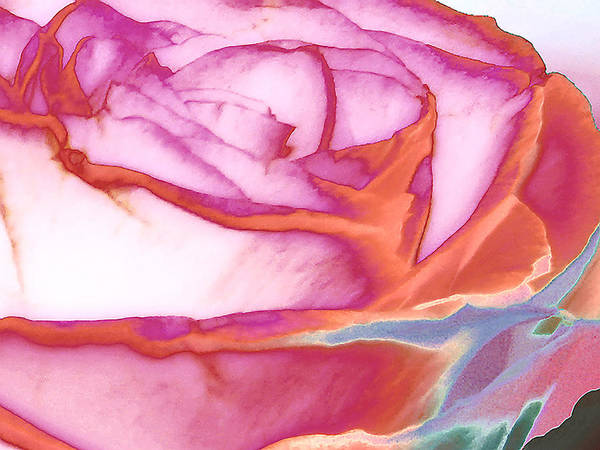 Rose Print featuring the digital art Love Story - Early Days by Wendy J St Christopher
