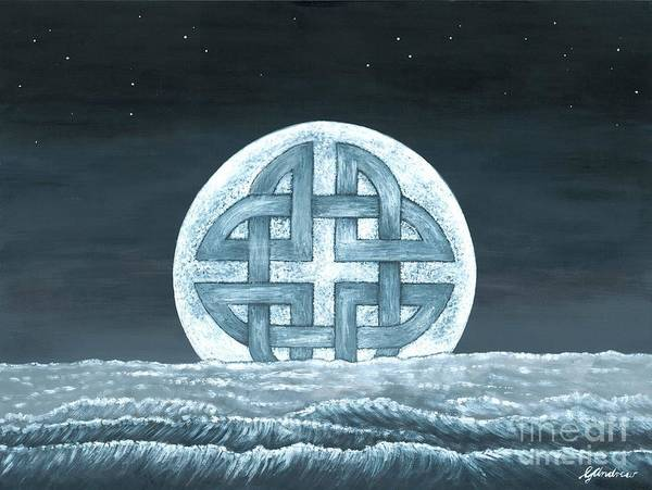 Moon Art Print featuring the painting Lunaris Rising by Gareth Andrew