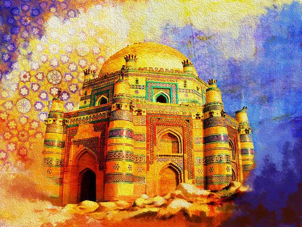 Pakistan Art Print featuring the painting Mai Jwandi Tomb On Makli Hill by Catf