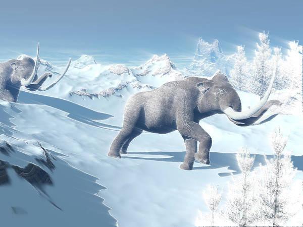 Three Dimensional Art Print featuring the digital art Mammoths Walking Slowly On The Snowy by Elena Duvernay
