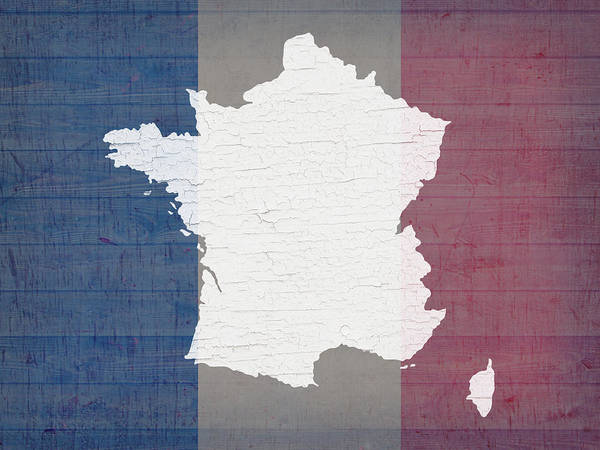 Map Of France In White Old Paint On French Flag Barn Wood Art Print