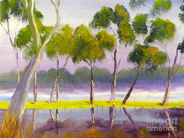 Impressionist Art Print featuring the painting Marshlands Murray River Red River Gums by Pamela Meredith
