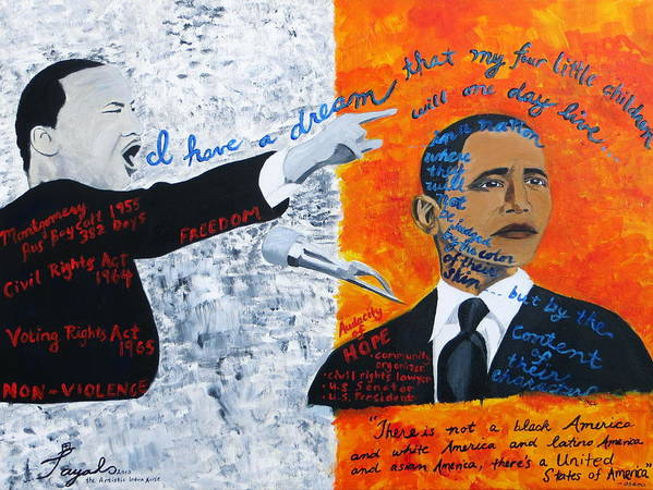 Mlk Art Print featuring the painting Martin Luther King's Dream Is Coming True by Artistic Indian Nurse