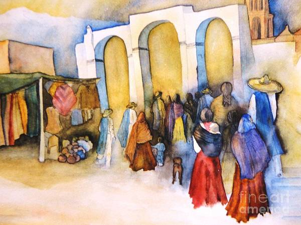 Prozession In Mexico Art Print featuring the painting Mexican Prozession by Dagmar Helbig