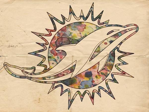 Miami dolphins vintage logo art print by florian rodarte miami dolphins art print featuring the painting miami dolphins vintage logo by florian rodarte voltagebd Choice Image