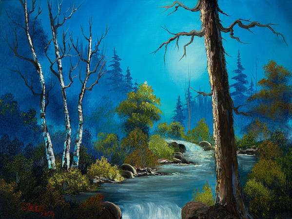 Landscape Print featuring the painting Moonlight Stream by C Steele
