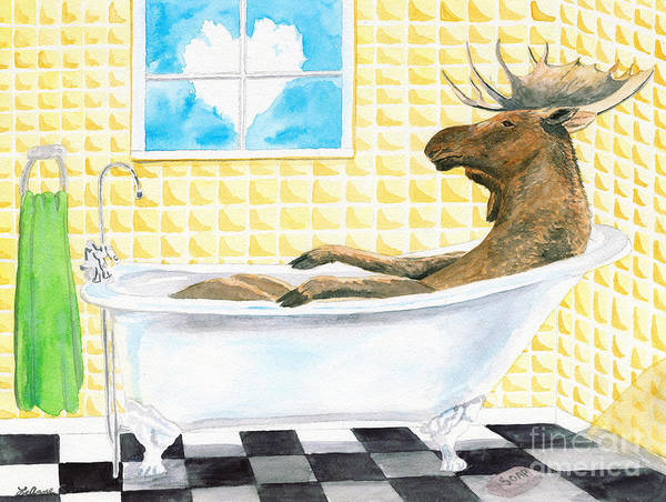 Moose Painting Art Print featuring the painting Moose Bath, Moose Painting, Moose Print, Bath Painting, Bath Print, Cottage Art by LeAnne Sowa
