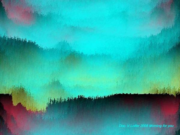 Morning Fog Silhouette The Layers Of The Fog Colors Pale Blue Rose Black Art Print featuring the digital art Morning For You by Dr Loifer Vladimir