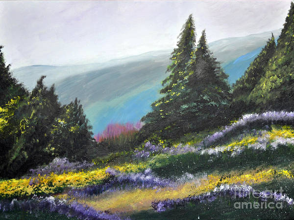 Mountains Art Print featuring the painting Mountain Meadow by Jane Steelman