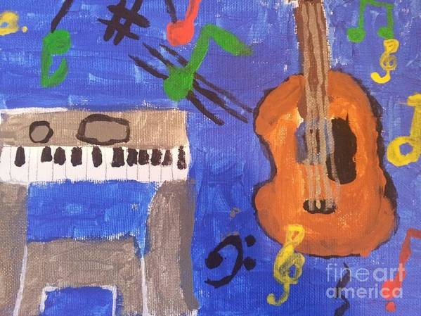 Guitar Art Print featuring the painting My Musical World by Epic Luis Art