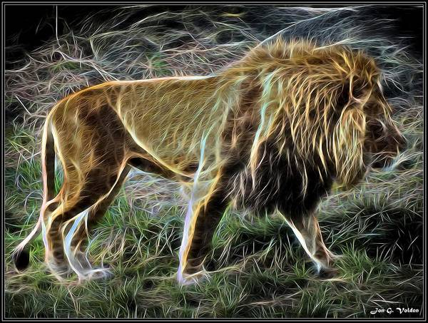 mystic lion walking art print by jon volden