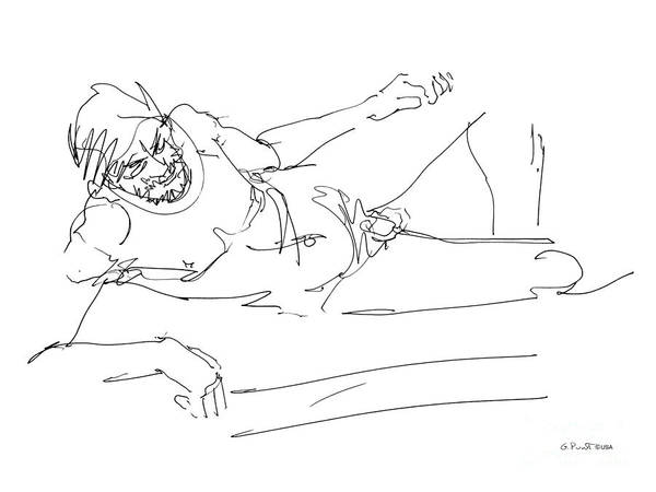 Male Art Print featuring the drawing Naked-man-art-16 by Gordon Punt