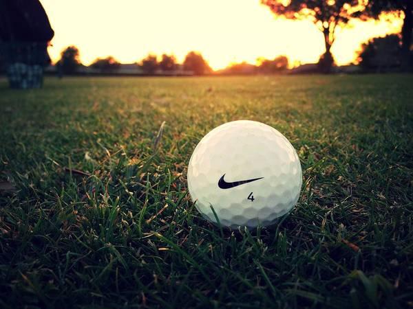 Golf Art Print featuring the digital art Nike Golf Ball by Derek Goss