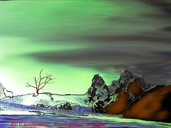 Landscape Art Print featuring the digital art North Coast.sunrise by Dr Loifer Vladimir