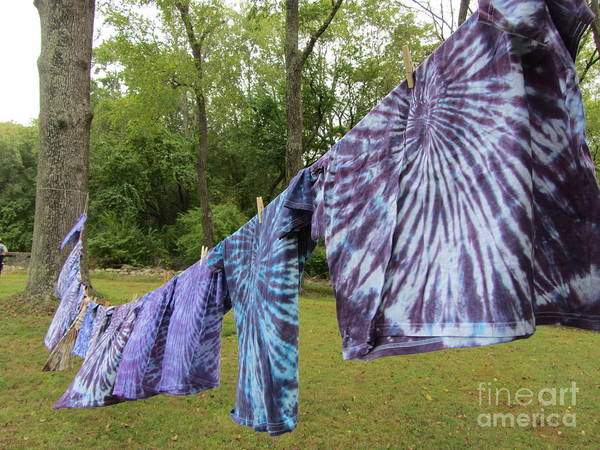 Shirt Art Print featuring the photograph Not Fade Away - Spiral Dyes by Susan Carella