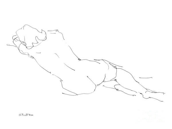 Females Art Print featuring the drawing Nude Female Drawings 9 by Gordon Punt