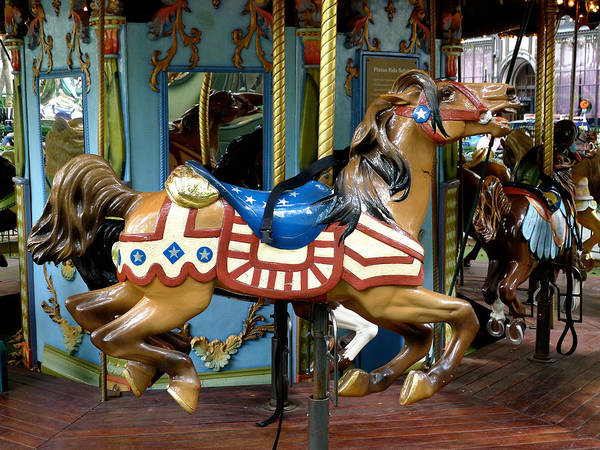 Carousel Art Print featuring the photograph Nyc - Old Glory Pony by Richard Reeve