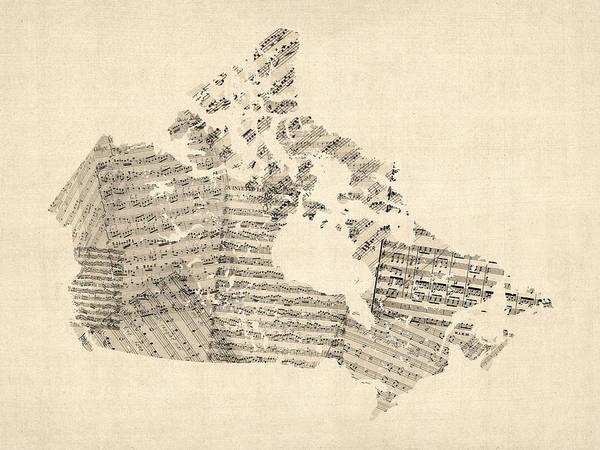 Canada Map Art Print featuring the digital art Old Sheet Music Map Of Canada Map by Michael Tompsett