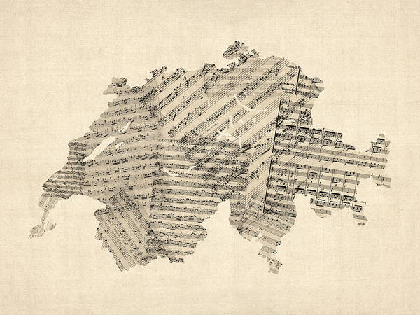 Switzerland Map Art Print featuring the digital art Old Sheet Music Map Of Switzerland Map by Michael Tompsett
